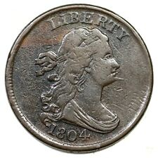 1804 C-6 R-2 Spiked Chin 9.5 Draped Bust Half Cent Coin 1/2c