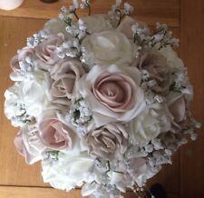 Wedding Flowers  Ivory / Latte Blush Roses  & Burlap Ribbon Bouquet Package