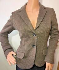 MaxMara weekend brown fitted wool blend tweed jacket blazer size S 8