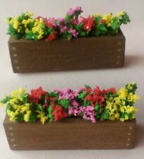 TWO HANDMADE DOLLS HOUSE WINDOW BOXES/GARDEN CONTAINERS