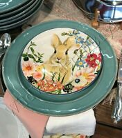 Pottery Barn Set 4 Floral Bunny Salad Plates Dessert Easter Same Style #2 New