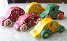 5 Handpainted Colorful Wooden Cars Toy Car
