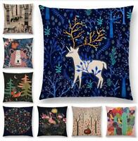 "18"" Cotton Linen Forest Animal Pillow Case Cushion Cover Waist Cover Home Decor"
