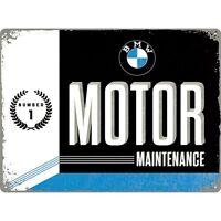 BMW Motore Maintenance Grande Goffrato Segno Del Metallo 400mm x 300mm (Na)