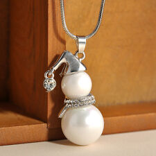 Fashion Women Jewelry Pearl Crystal Snowman Pendant Necklace Christmas Gift