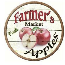 "Farmers Market Apples Novelty Metal Circular Sign 12"""