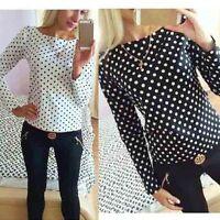 Fashion Women Polka Dot Casual Chiffon Blouse Loose Long Sleeve T Shirt Tops