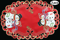 Holiday Christmas Snowman Snowflake Placemats Table Cloth Runner Red Gold