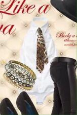 DENNY ROSE CAMICIA camicetta blusa body art.2495 BIANCA tg.L +cravatta maculata