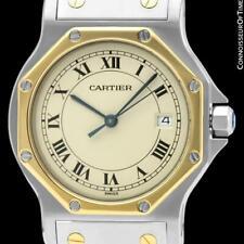CARTIER SANTOS OCTAGON Mens Midsize Unisex Quartz Watch - SS Steel & 18K Gold