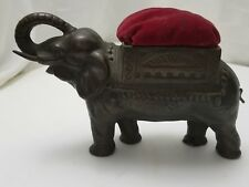 "Antique BRONZE ELEPHANT HAT PIN CUSHION Huge 9"" Statue GOOD LUCK"