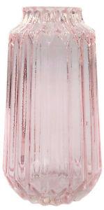 23cm Glass Vase Pink Transparent Rippled Design Decorative Table Flower Vase
