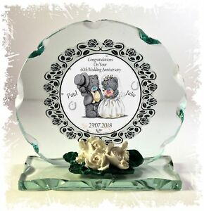 60th Wedding Anniversary  Gift, Personalised Cut Glass Round Plaque #1