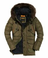 Superdry Mens Chinook  Parka Khaki Jacket Black Fur Parka Quilted Ship Worldwide