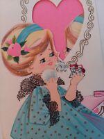 1950s Vtg GIRL Vanity PERFUME Puff Glitter GRANDDAUGHTER VALENTINE GREETING CARD