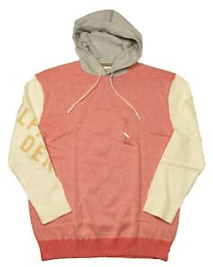 Tommy Hilfiger Denim Men's Fiery Red/Ivory/Gray Colorblock Pullover Hoodie