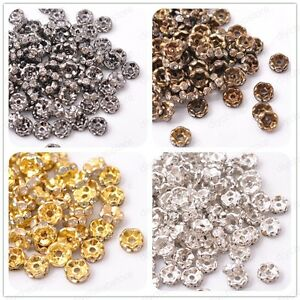 50Pcs GOLD & SILVER & Black,Czech Crystal Rhinestone Wavy Rondelle Spacer Beads
