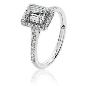 Silver & Co Emerald Cut Halo CZ Engagement Ring