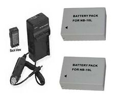 Two Batteries NB-10L NB10L + Charger for Canon Powershot SX40 HS SX40HS Camera