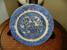 Vintage , Blue Willow China, Flow Blue, Stamped Dog/Trade Mark E.M.& CO Salad