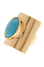 TRINA TURK yellow Gold Tone And Oval created blue turquoise Stone fashion Ring