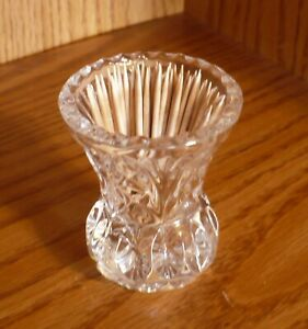 Vintage Cut Crystal Toothpick Holder Pineapple Pattern