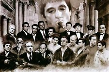 GODFATHER SCARFACE GOODFELLAS GANGSTER - 34X24 INCH LARGE FRAMED CANVAS