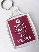 KEEP CALM 40th RUBY WEDDING ANNIVERSARY KEYRING MARRIED 40 YEARS