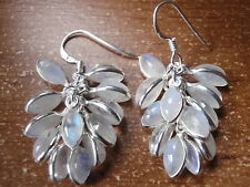 Blue Moonstone Cluster 925 Sterling Silver Dangle Earrings Corona Sun Jewelry