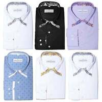 "Mens Double Collar Dress Shirts Italian Floral Regular Fit Cotton 15-19"" M-4XL"