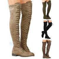 Women Ladies Over The Knee High Lace Up Boots Flat Stretch Thigh High Shoes Size