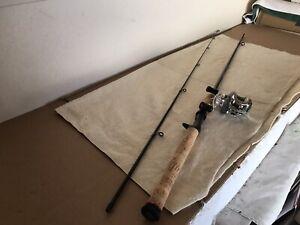 """Vintage Shimano SoJourn 6'6"""" baitcast rod & Quantum Escalade baitcast reel."""