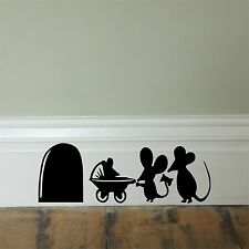 Mouse hole baby pram_ Skirting Board_ Wall Art _Funny Decal Vinyl Sticker