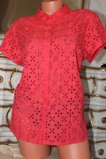 Bright Coral 100% cotone L Donna Estate Blusa Camicia Taglia 18