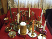 Vintage Large Lot of 22 Quality Brass candle holders, little angel and more.