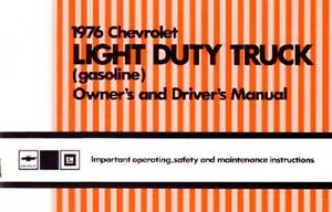 1976 Chevrolet Light Duty Truck Owners Manual User Guide Operator Book Fuses OEM