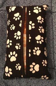 New Handmade Fabric Tissue Packet Cover Dog & Puppy Paws Kleenex Mini Holder