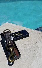 NEW Polo Ralph Lauren Dark Brown Leather Logo Brass Dog Clip Key Fob