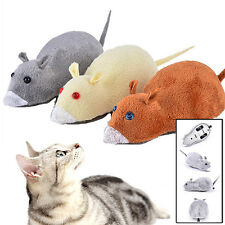 GREAT Small Wind Up Cat Kitten Furry Mouse Toy Running Rat Move Joke Prank Gift