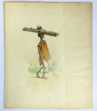 Chas Grave Punch cartoonist original signed watercolour painting Sierra Leone