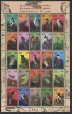 SRI LANKA - 2003 'RESIDENT BIRDS SRI LANKA' Sheetlet of 25 MNH SG1650-74 [C2352]