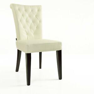 Lederstuhl Stuhl Capo Rindsleder Creme - Weiß | SIX Leder Stuhl Esszimmer Stühle