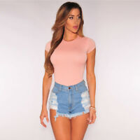 Women Vintage High Waist Denim Jeans Shorts Lace Crochet Casual Ripped Hot Pants