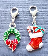 2 pcs Christmas Clip On Charm Dangle Fit for Link Chain floating locket C180