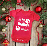 My Big brother has Paws short sleeve red baby grow bodysuit. cat dog paws