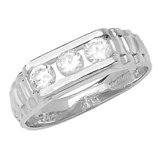 Genuine 9CT White Gold Babies Ring Babies' Three Stone CZ Ring A-M Sizes