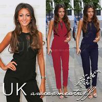 UK Womens 3 Colour Evening Party Playsuit Ladies Lace Long Jumpsuit Size 6 - 12