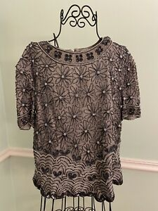 PAPELL BOUTIQUE Evening Gray 100% SILK Beaded Floral Party Top Womens XL