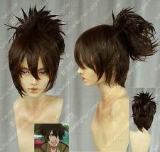 BRAVE10 Sanada Yukimura New short dark brown Cosplay Costume Wig+Ponytail