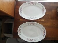 FAVOLINA CHINA--2 Platters--FLORAL FAV16 PATTERN--Made in Poland--FREE SHIPPING